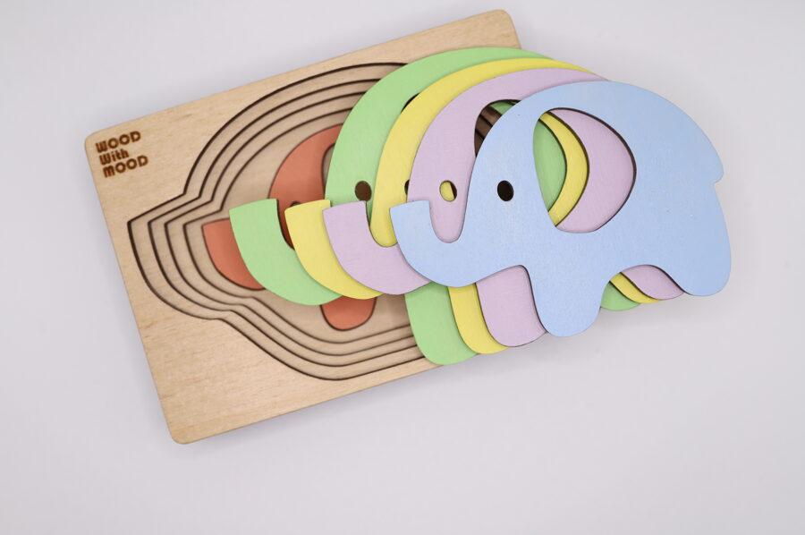 """Kreatīva puzle """"Ziloņi""""."""